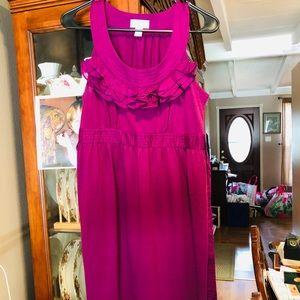 Ann Taylor Loft Purple Ruffle Dress With Sash EUC